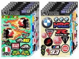 Kit 230 Adesivos - Cartela De Adesivo Patrocinios Moto Capacete Monster