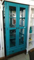 Cristaleira azul vintage