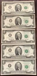 5 Notas de U$2 para colecionadores