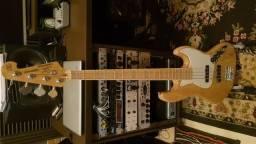 Baixo Sx Sjb75 Jazz Bass 4 Cordas Ash Natural + Vox Stomplab 1b Pedaleira - Brinde um Irig