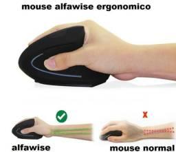 Mouse Ergonômico Vertical Sem Fio Alfawise tendinite ler