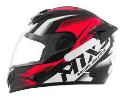 Capacete mx2 carbon preto fosco/vermelho N 62