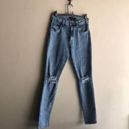 Calça jeans marmorizada