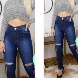 Jeans destroyed joelho (com elastano)