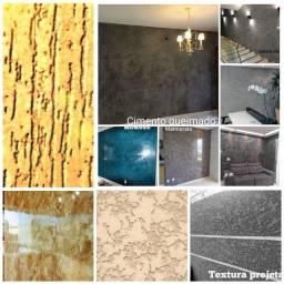 Textura projetada, cimento queimado, marmorato, arenato e grafiato