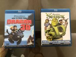 Blu-Ray 3D Coleção Shrek 1,2,3 e 4 + Como Treinar seu Dragão