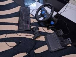 volante e pedal, teclado e controle de PC (leia a descrição)