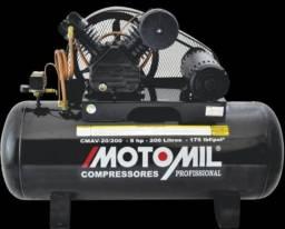 Compressor 20/200 litros 175 libras (linha preta) motomil novo