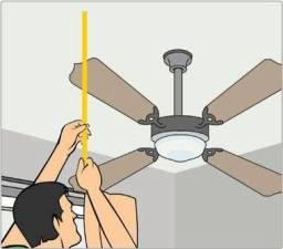 Instalação de ventilador de teto com lâmpada