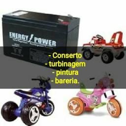 Carros e motos elétricas infantil. consertos