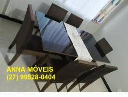 Sábado Magnifico - Mesa 6 Cadeiras - Modelo com tampo laqueado - Cor Preto - Nova
