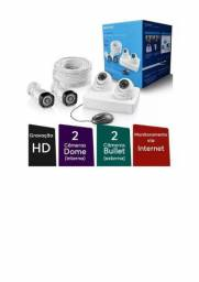 Kit de câmeras Multilaser com 4 câmeras + DVR para 5 canais + 100 Metros de fio