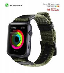 Pulseira nylon + couro exercito militar apple watch 38mm 40mm 42mm 44mm