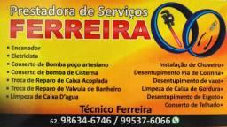 Pretadoura  serviços Ferreira  24 horas <br>Encanador/Eletricista/Pedreiro/Desitupidora