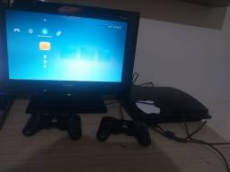 Video game play 3 com dois controles e TV de LED 18 polegadas