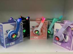 Título do anúncio: Fone gatinho colorido bluetooth com led / RGB