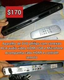 DVD Philips com hdmi usb e karaoke