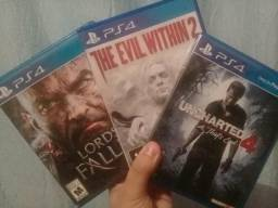 Jogos PS4 (TROCA) - Lords Of The Fallen, The Evil Within e Uncharted 4