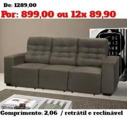 Promoção Maringa - Sofa Retratil e Reclinavel 3 Lugares - Direto da Fabrica