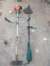 Uma a gasolina outra elétrica duas roçadeiras
