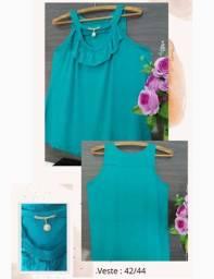 Blusinha de alcinha azul soltinha