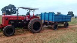 Trator mf 65x com implemento