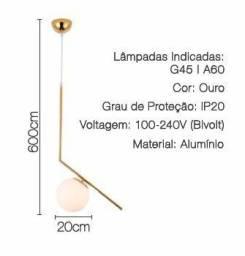 PENDENTE GLOBO 20cm E27 DOURADO-MBLED