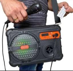 Super Caixa de Som Completa Microfone Controle Bluetooth MP3 Pendrive Radio P2