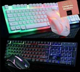 Kit gamer Teclado e mouse iluminado semi mecânico
