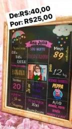 Quadro chalkboard com as informações do bebê