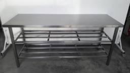 Bancada trabalho Aço Inox Paneleiro dupla