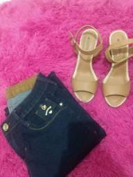 Calça jeans feminina flare e Sandália n 37 cor nude