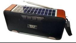 Caixa de som completa com carregamento solar e normal com bluetooth pendrave rádio