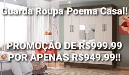 *Guarda Roupa Casal! Promoção de R$999.99 por apenas R$949.99. ENTREGA E MONTAGEM GRÁTIS!!