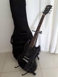 Guitarra Phoenix preta com apoio de chão