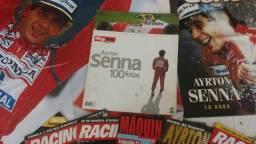 Coleção de revistas (9) e pôster (3) e Album a (1) do Ayrton Senna