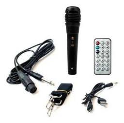 Completa com Bluetooth, Microfone, Entrada USB, Cartão, Aux e Rádio fm<br>