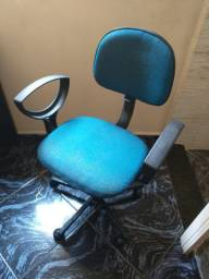 Cadeira escritório Secretária Giratória Braços Tecido Azul Com Preto