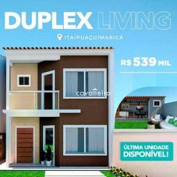 Excelente duplex com 3 dormitórios à venda, 114 m² no Barroco (Itaipuaçu) - Maricá/RJ