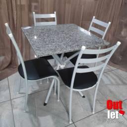Oferta-Mesa Tubular XIS Tampo de Granito e 4 Cadeiras NOVA