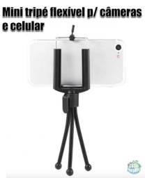 Mini tripé flexível de aço para câmeras e celular