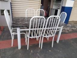 Mesa Mármore 6 Cadeiras - ENTREGA GRÁTIS