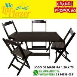 Conjunto de 4 Cadeiras com Mesa de Madeira 1,20 x 70