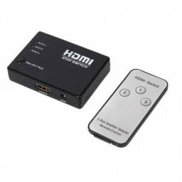 Switch HDMI 3 Entradas 1 Saída C/ Controle Remoto
