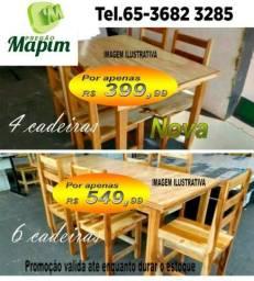 Mesas 4 e 6 cadeiras em promoção (madeira teka produto novo)