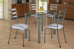 Mesa com 4 cadeiras tampo vidro 100x60 Luxo- entrega ate 24h envie seu pedido *