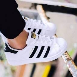 tênis adidas superstar foundation unissex branco e preto