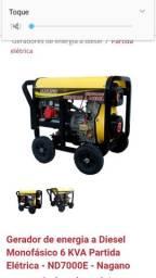 Vendo gerador nagano 6.kVA diesel partida elétrica sem uso