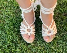 Sandália de amarrar Feminina Flatform linda - Novo