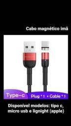 Título do anúncio: Cabo magnético carregamento usbtipo c ou micro usb